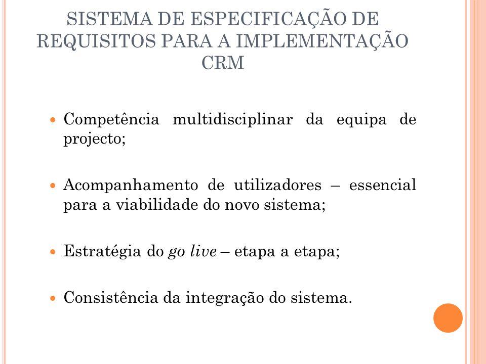 SISTEMA DE ESPECIFICAÇÃO DE REQUISITOS PARA A IMPLEMENTAÇÃO CRM Competência multidisciplinar da equipa de projecto; Acompanhamento de utilizadores – e