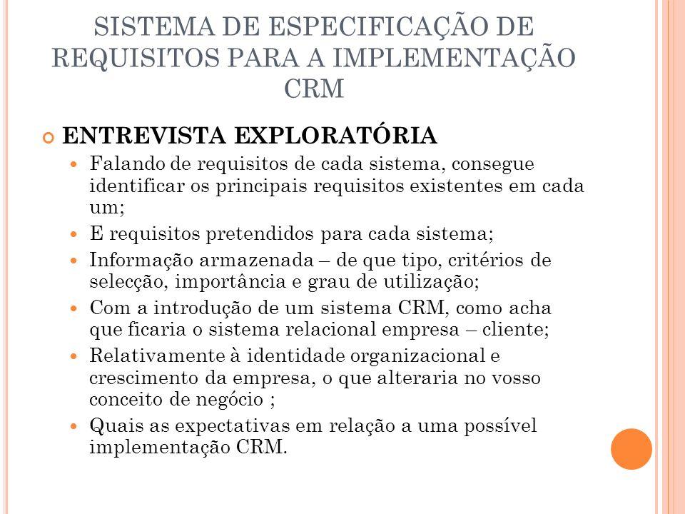 SISTEMA DE ESPECIFICAÇÃO DE REQUISITOS PARA A IMPLEMENTAÇÃO CRM ENTREVISTA EXPLORATÓRIA Falando de requisitos de cada sistema, consegue identificar os