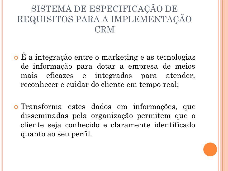 SISTEMA DE ESPECIFICAÇÃO DE REQUISITOS PARA A IMPLEMENTAÇÃO CRM É a integração entre o marketing e as tecnologias de informação para dotar a empresa d