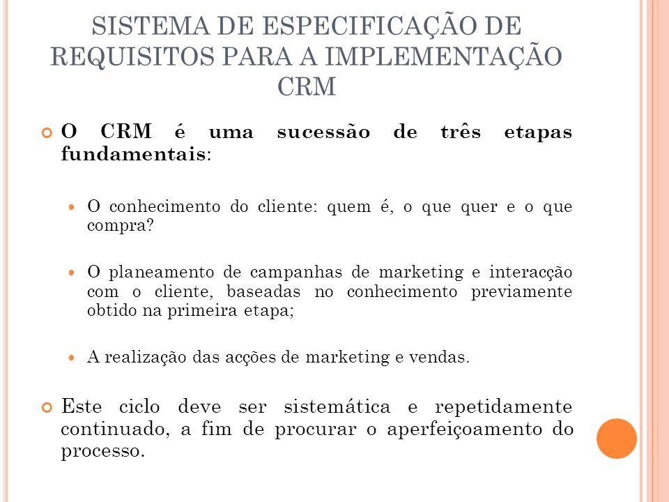 SISTEMA DE ESPECIFICAÇÃO DE REQUISITOS PARA A IMPLEMENTAÇÃO CRM O CRM é uma sucessão de três etapas fundamentais : O conhecimento do cliente: quem é,