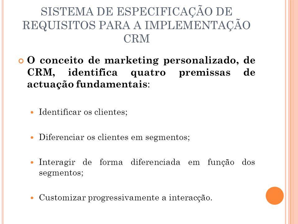 SISTEMA DE ESPECIFICAÇÃO DE REQUISITOS PARA A IMPLEMENTAÇÃO CRM O conceito de marketing personalizado, de CRM, identifica quatro premissas de actuação