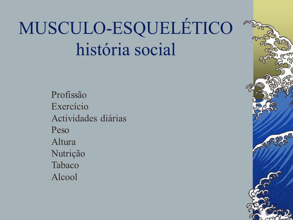 MUSCULO-ESQUELÉTICO história social Profissão Exercício Actividades diárias Peso Altura Nutrição Tabaco Alcool
