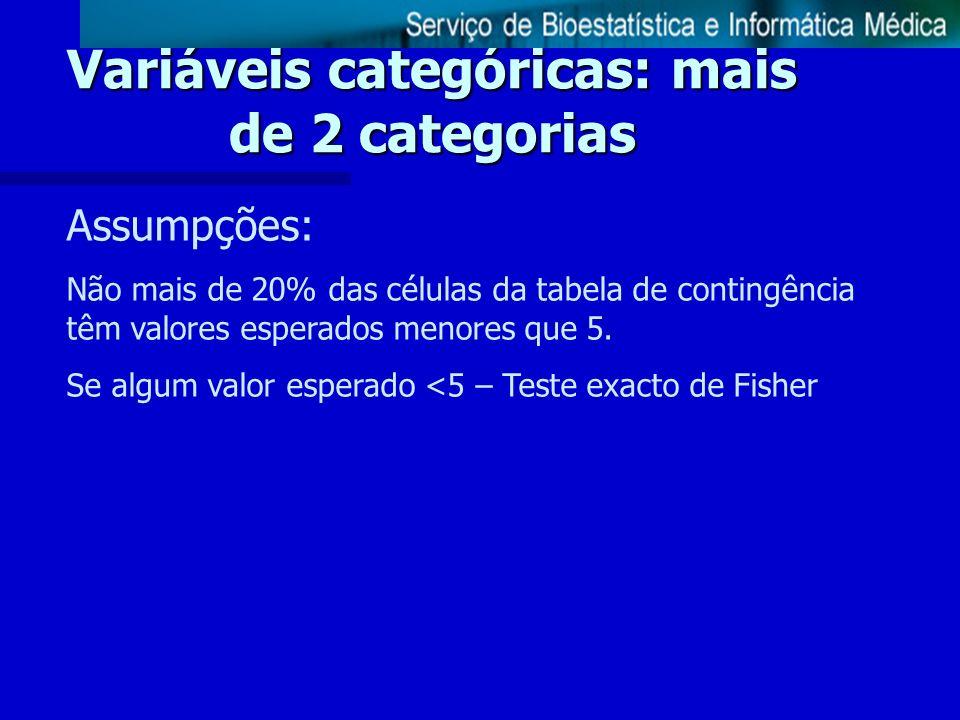 Variáveis categóricas: mais de 2 categorias Assumpções: Não mais de 20% das células da tabela de contingência têm valores esperados menores que 5. Se