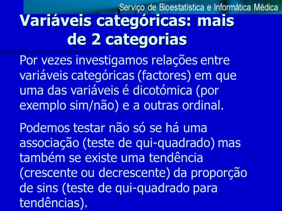 Variáveis categóricas: mais de 2 categorias Por vezes investigamos relações entre variáveis categóricas (factores) em que uma das variáveis é dicotómi