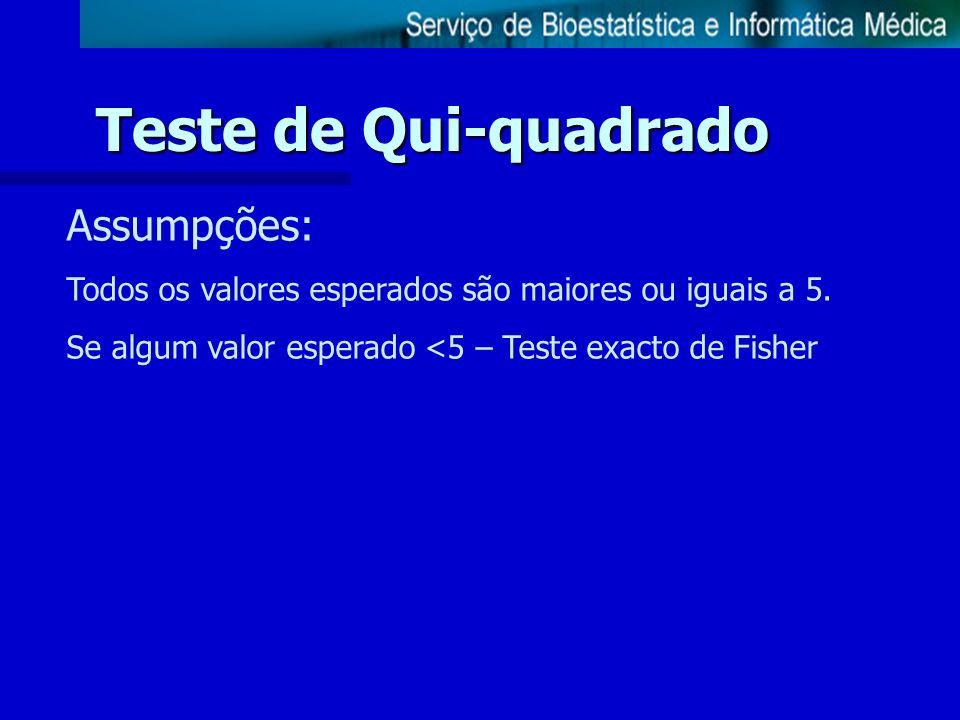 Assumpções: Todos os valores esperados são maiores ou iguais a 5. Se algum valor esperado <5 – Teste exacto de Fisher