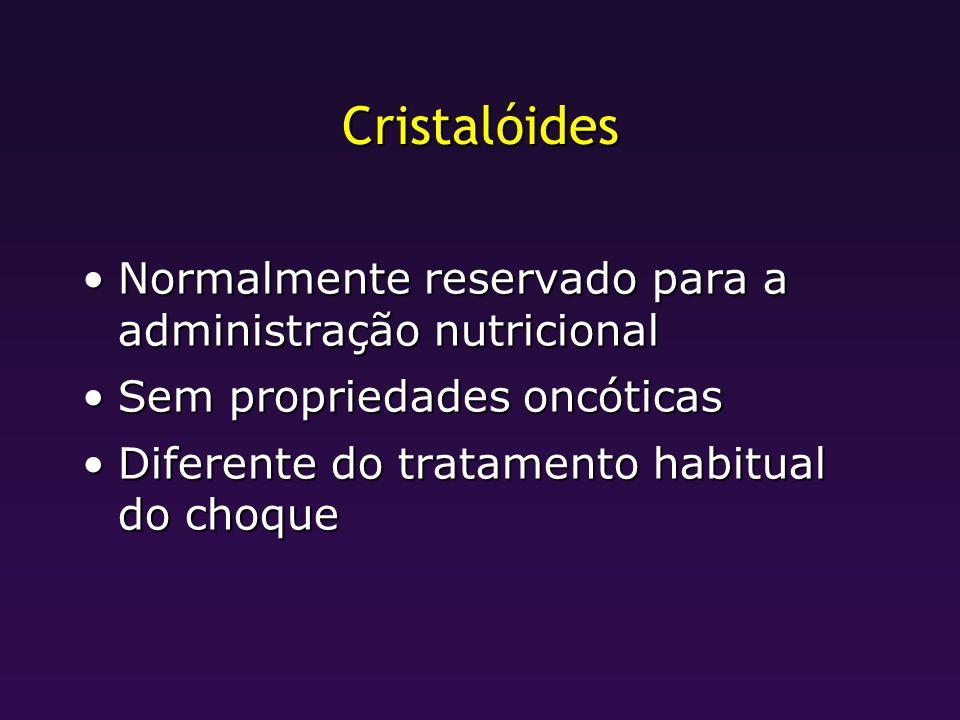 Cristalóides Normalmente reservado para a administração nutricionalNormalmente reservado para a administração nutricional Sem propriedades oncóticasSe