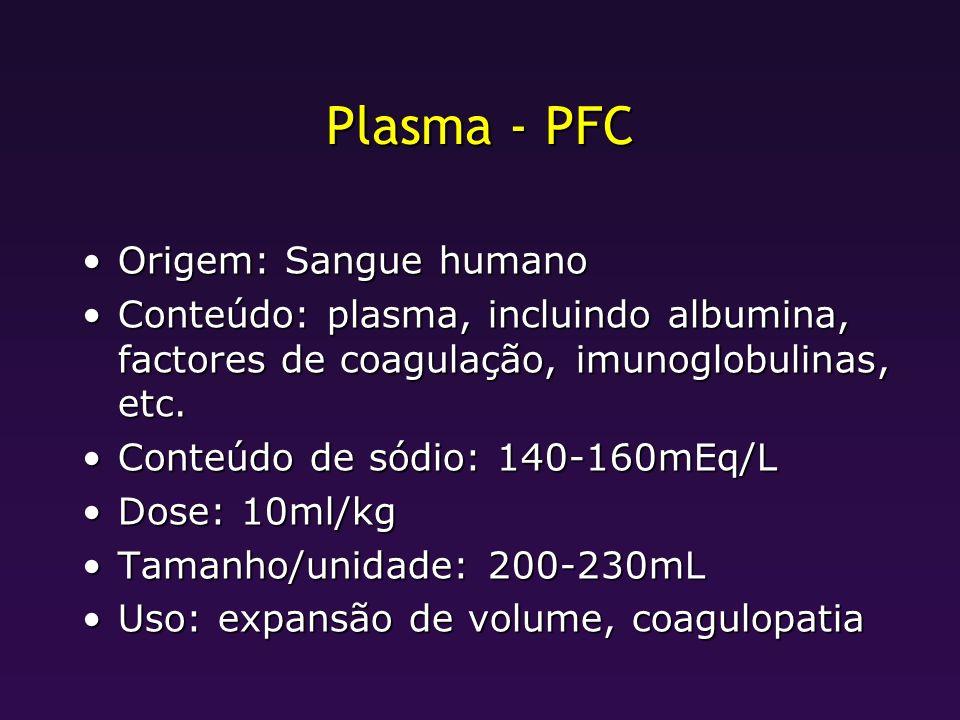 Plasma - PFC Origem: Sangue humanoOrigem: Sangue humano Conteúdo: plasma, incluindo albumina, factores de coagulação, imunoglobulinas, etc.Conteúdo: p