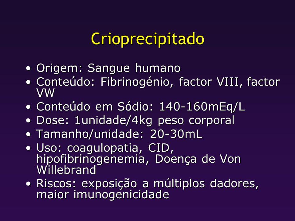 Crioprecipitado Origem: Sangue humanoOrigem: Sangue humano Conteúdo: Fibrinogénio, factor VIII, factor VWConteúdo: Fibrinogénio, factor VIII, factor V