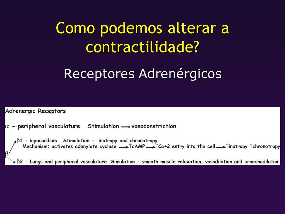 Como podemos alterar a contractilidade? Receptores Adrenérgicos