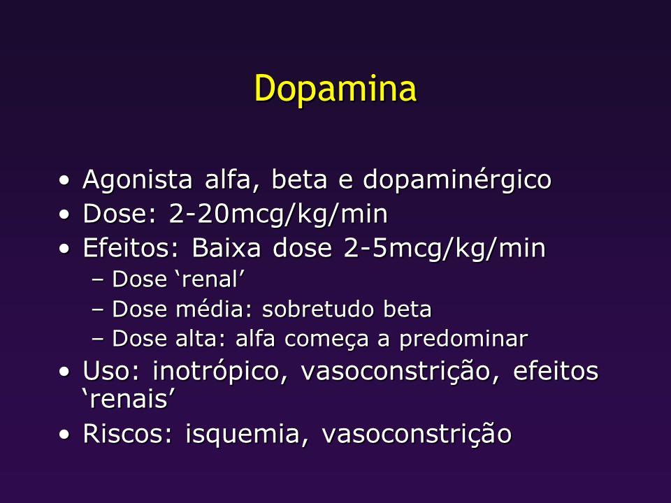 Dopamina Agonista alfa, beta e dopaminérgicoAgonista alfa, beta e dopaminérgico Dose: 2-20mcg/kg/minDose: 2-20mcg/kg/min Efeitos: Baixa dose 2-5mcg/kg