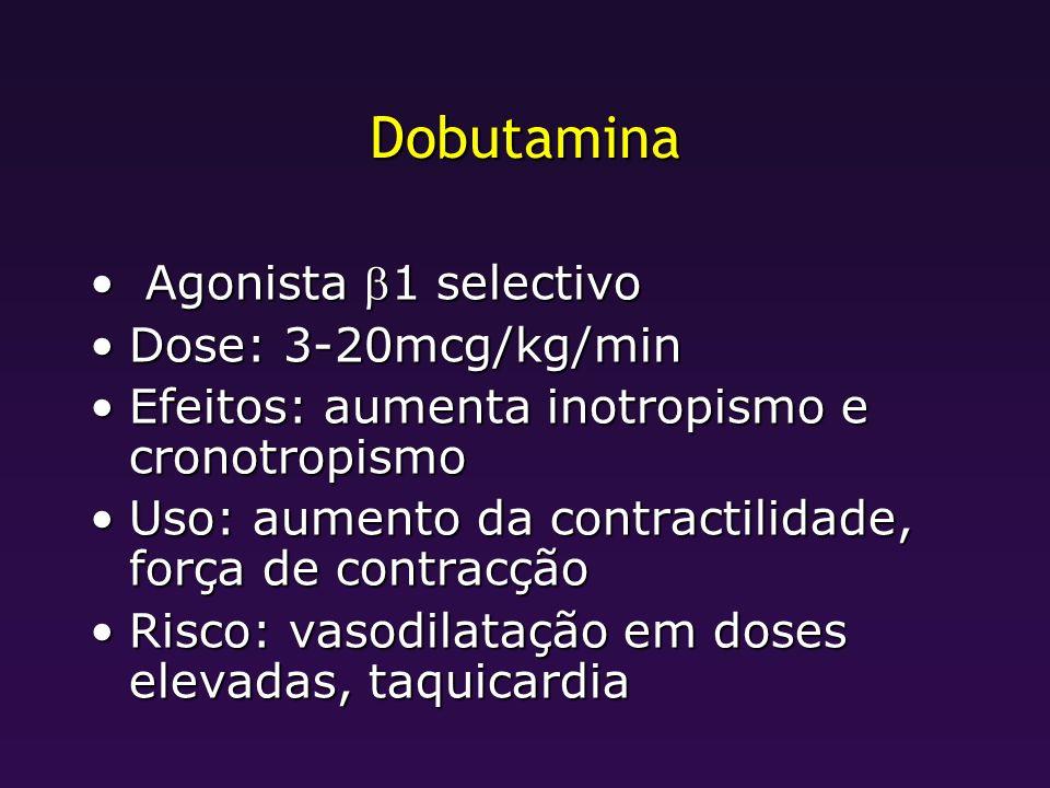 Dobutamina Agonista 1 selectivo Agonista 1 selectivo Dose: 3-20mcg/kg/minDose: 3-20mcg/kg/min Efeitos: aumenta inotropismo e cronotropismoEfeitos: aum
