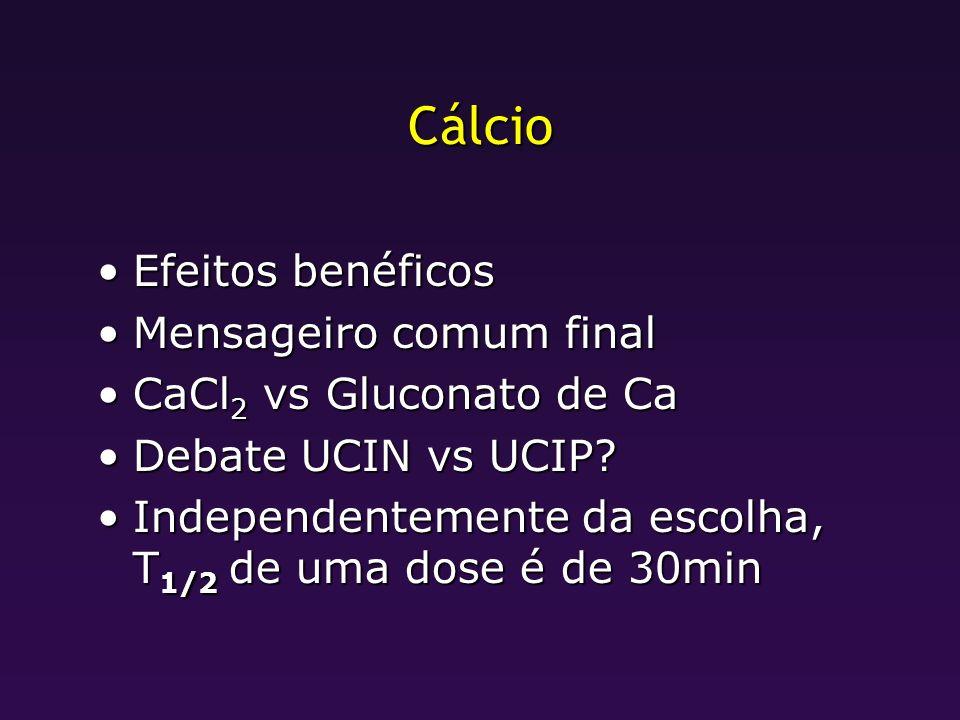 Cálcio Efeitos benéficosEfeitos benéficos Mensageiro comum finalMensageiro comum final CaCl 2 vs Gluconato de CaCaCl 2 vs Gluconato de Ca Debate UCIN