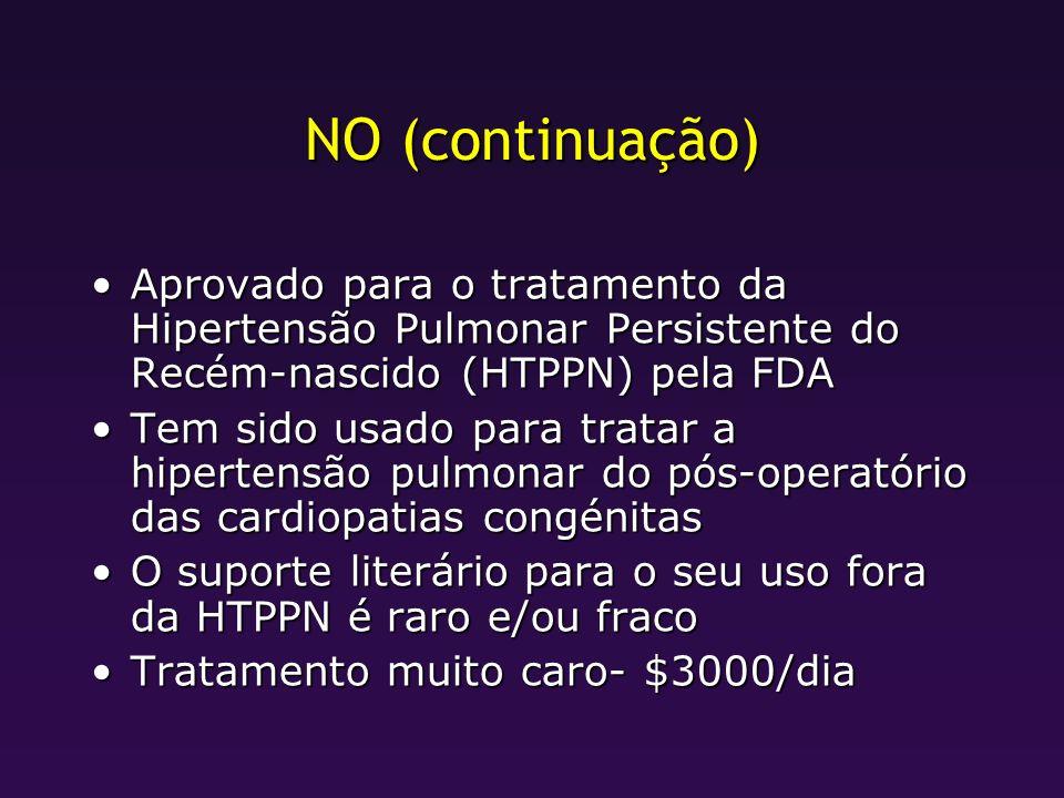 NO (continuação) Aprovado para o tratamento da Hipertensão Pulmonar Persistente do Recém-nascido (HTPPN) pela FDAAprovado para o tratamento da Hiperte