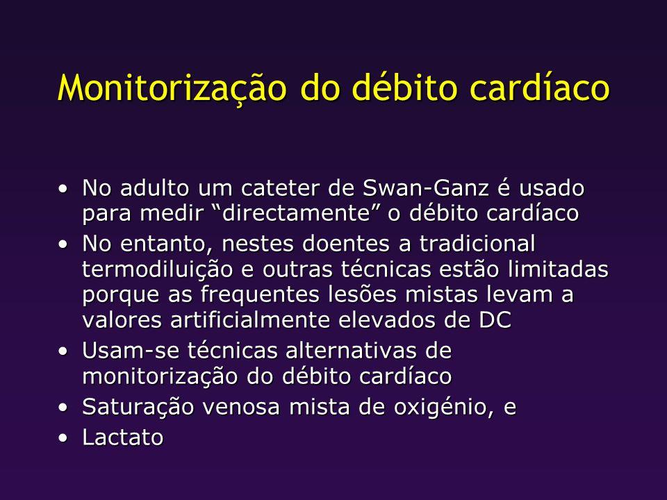 Monitorização do débito cardíaco No adulto um cateter de Swan-Ganz é usado para medir directamente o débito cardíacoNo adulto um cateter de Swan-Ganz