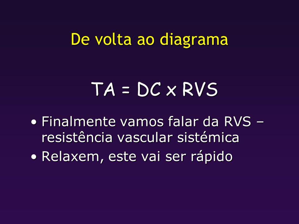 De volta ao diagrama TA = DC x RVS Finalmente vamos falar da RVS – resistência vascular sistémicaFinalmente vamos falar da RVS – resistência vascular