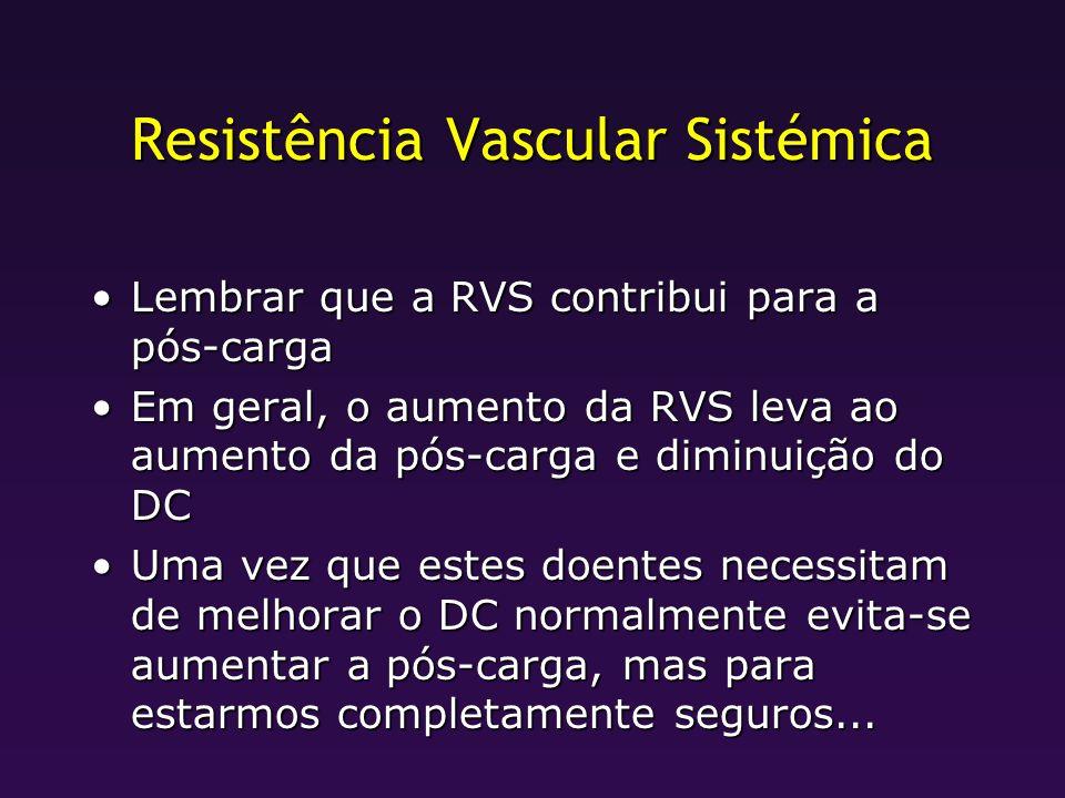 Resistência Vascular Sistémica Lembrar que a RVS contribui para a pós-cargaLembrar que a RVS contribui para a pós-carga Em geral, o aumento da RVS lev