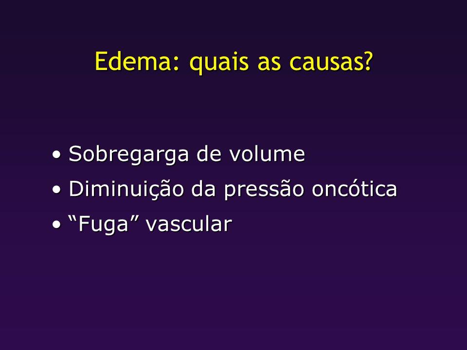 Edema: quais as causas? Sobregarga de volumeSobregarga de volume Diminuição da pressão oncóticaDiminuição da pressão oncótica Fuga vascularFuga vascul