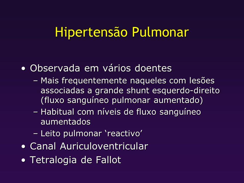 Hipertensão Pulmonar Observada em vários doentesObservada em vários doentes –Mais frequentemente naqueles com lesões associadas a grande shunt esquerd