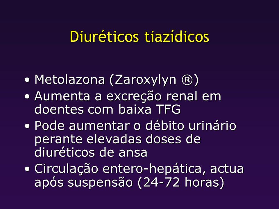 Diuréticos tiazídicos Metolazona (Zaroxylyn ®)Metolazona (Zaroxylyn ®) Aumenta a excreção renal em doentes com baixa TFGAumenta a excreção renal em do