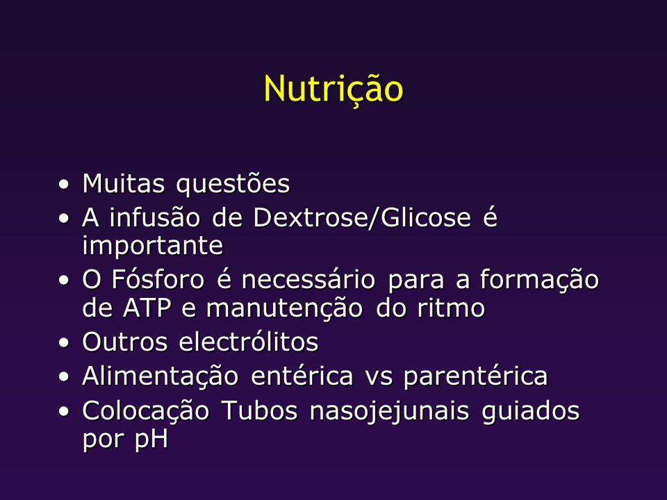Nutrição Muitas questõesMuitas questões A infusão de Dextrose/Glicose é importanteA infusão de Dextrose/Glicose é importante O Fósforo é necessário pa