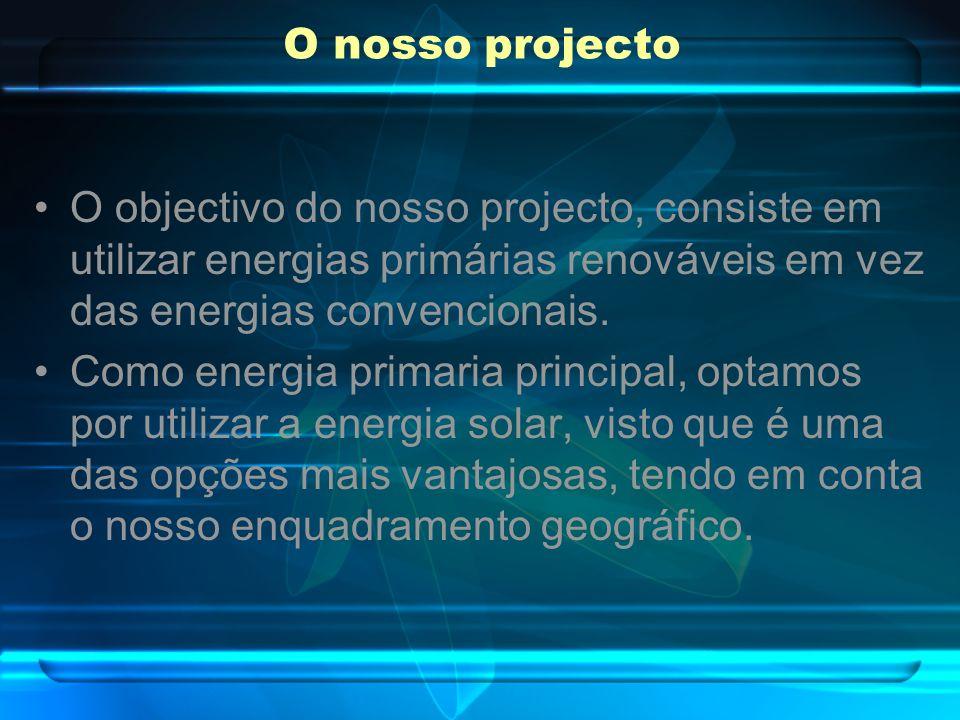 O nosso projecto O objectivo do nosso projecto, consiste em utilizar energias primárias renováveis em vez das energias convencionais. Como energia pri