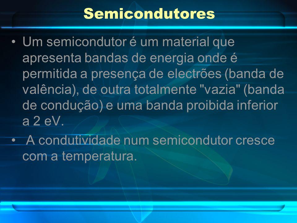 Semicondutores Um semicondutor é um material que apresenta bandas de energia onde é permitida a presença de electrões (banda de valência), de outra to