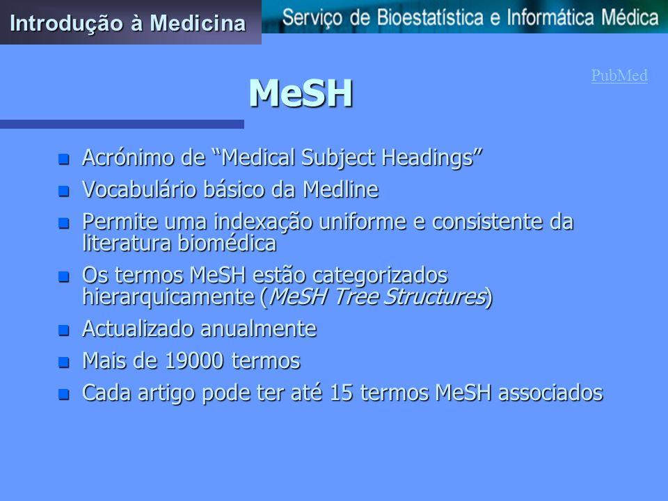 A pesquisa n A Medline permite pesquisa por autor, palavra (no título ou no texto), jornal, frases ou qualquer combinação destes, ou ainda pelo MeSH n