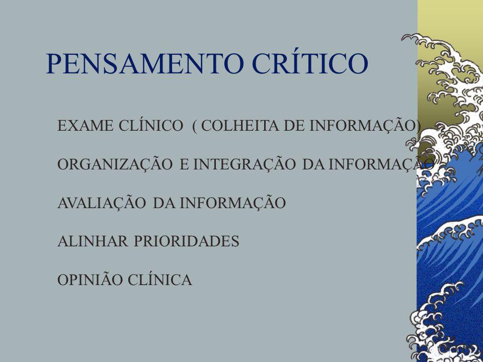 PENSAMENTO CRÍTICO EXAME CLÍNICO ( COLHEITA DE INFORMAÇÃO) ORGANIZAÇÃO E INTEGRAÇÃO DA INFORMAÇÃO AVALIAÇÃO DA INFORMAÇÃO ALINHAR PRIORIDADES OPINIÃO
