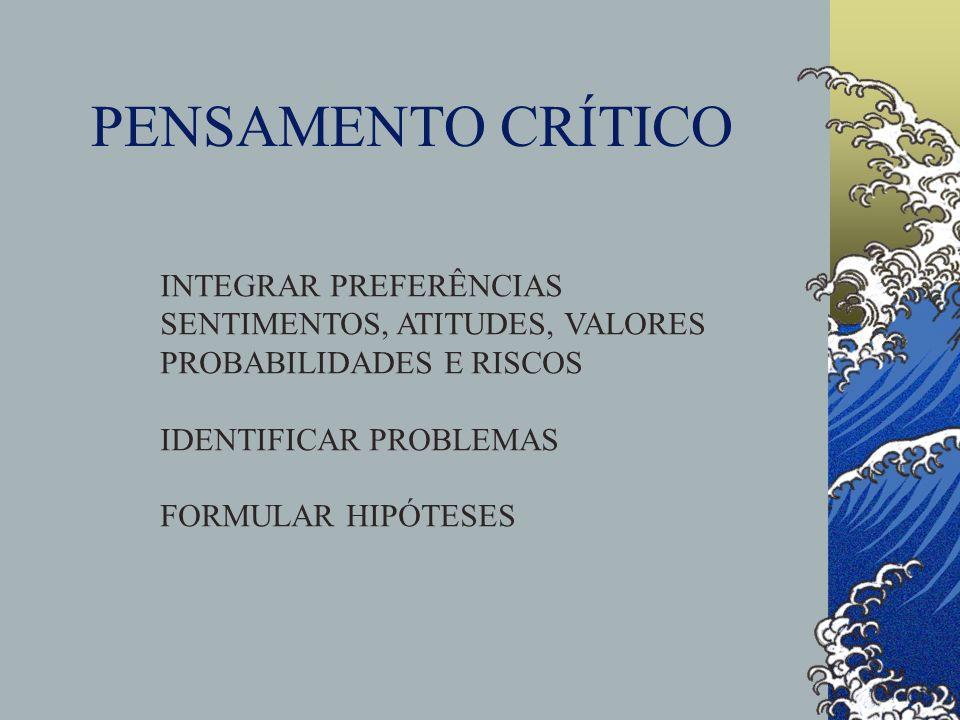 PENSAMENTO CRÍTICO INTEGRAR PREFERÊNCIAS SENTIMENTOS, ATITUDES, VALORES PROBABILIDADES E RISCOS IDENTIFICAR PROBLEMAS FORMULAR HIPÓTESES