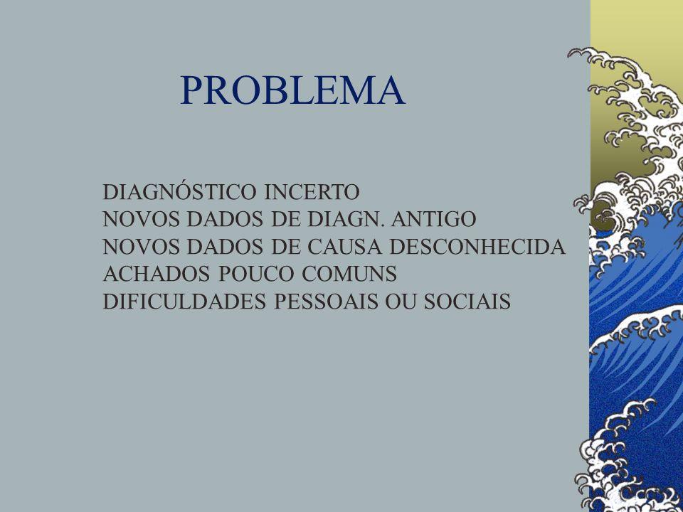 PROBLEMA DIAGNÓSTICO INCERTO NOVOS DADOS DE DIAGN. ANTIGO NOVOS DADOS DE CAUSA DESCONHECIDA ACHADOS POUCO COMUNS DIFICULDADES PESSOAIS OU SOCIAIS