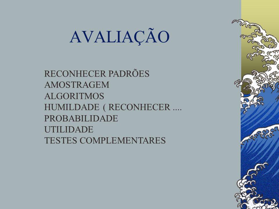 AVALIAÇÃO RECONHECER PADRÕES AMOSTRAGEM ALGORITMOS HUMILDADE ( RECONHECER.... PROBABILIDADE UTILIDADE TESTES COMPLEMENTARES