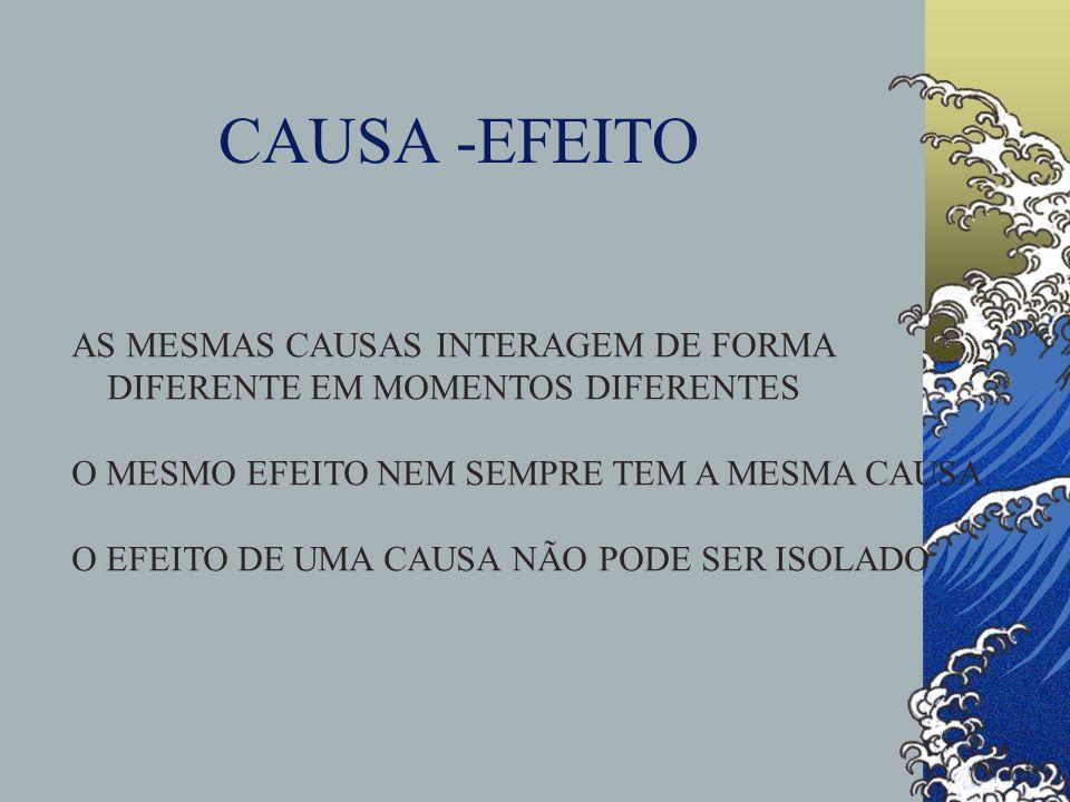 CAUSA -EFEITO AS MESMAS CAUSAS INTERAGEM DE FORMA DIFERENTE EM MOMENTOS DIFERENTES O MESMO EFEITO NEM SEMPRE TEM A MESMA CAUSA O EFEITO DE UMA CAUSA N
