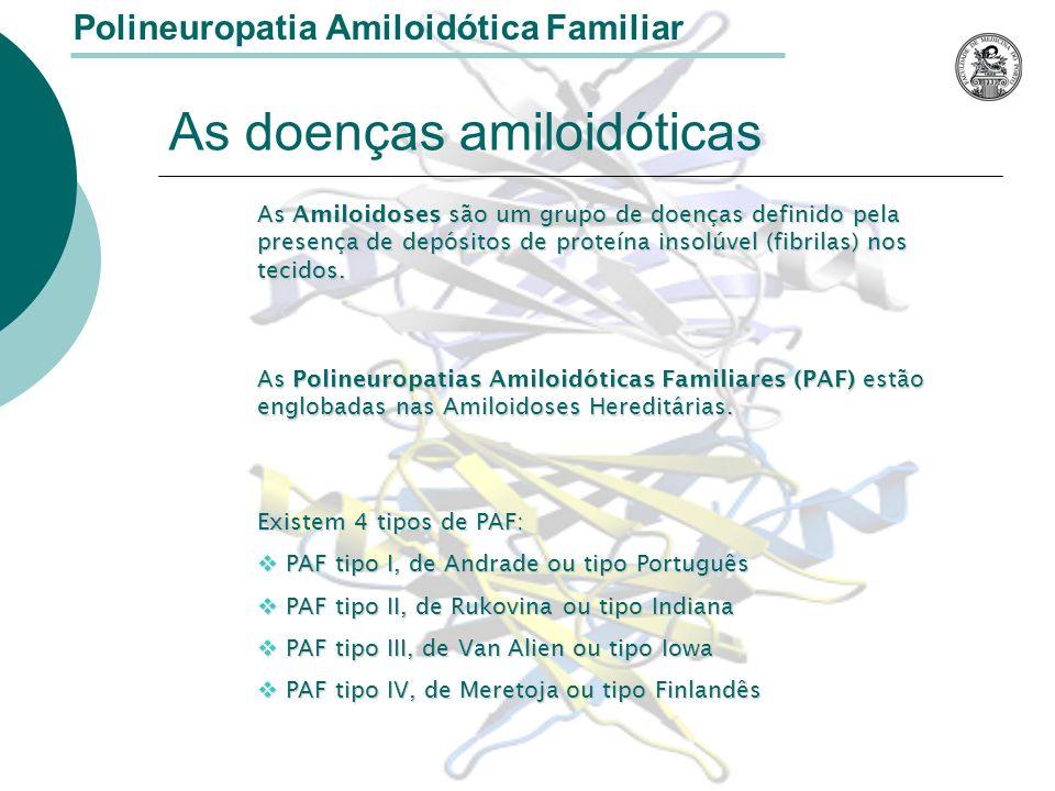 Polineuropatia Amiloidótica Familiar Suspeita-se que a degeneração dos nervos periféricos resulte de lesões nos gânglios posteriores dos nervos raquidianos Há uma redução da densidade das fibras nervosas do sistema nervoso autónomo M.M.