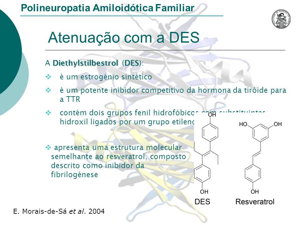 Atenuação com a DES Polineuropatia Amiloidótica Familiar A D DD Diethylstilbestrol (DES ): é um estrogénio sintético é um potente inibidor competitivo da hormona da tiróide para a TTR contém dois grupos fenil hidrofóbicos com substituintes hidroxil ligados por um grupo etileno apresenta uma estrutura molecular semelhante ao resveratrol, composto descrito como inibidor da fibrilogénese E.