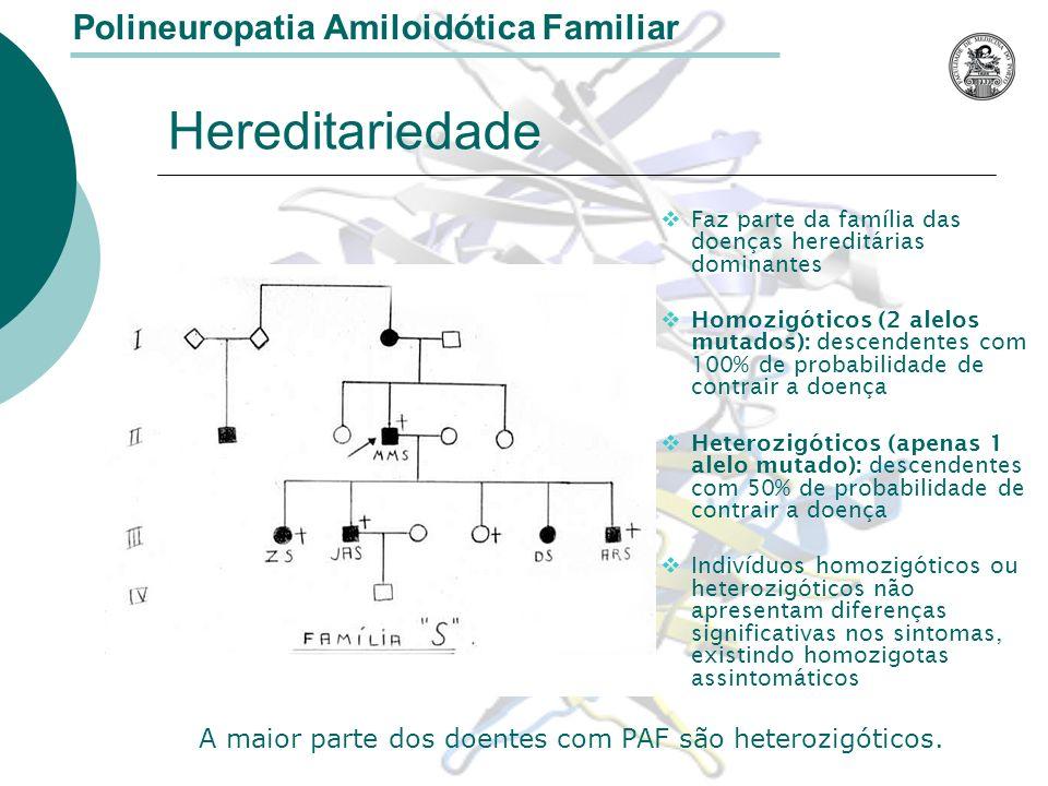 Hereditariedade Polineuropatia Amiloidótica Familiar Faz parte da família das doenças hereditárias dominantes Homozigóticos (2 alelos mutados): descendentes com 100% de probabilidade de contrair a doença Heterozigóticos (apenas 1 alelo mutado): descendentes com 50% de probabilidade de contrair a doença Indivíduos homozigóticos ou heterozigóticos não apresentam diferenças significativas nos sintomas, existindo homozigotas assintomáticos A maior parte dos doentes com PAF são heterozigóticos.