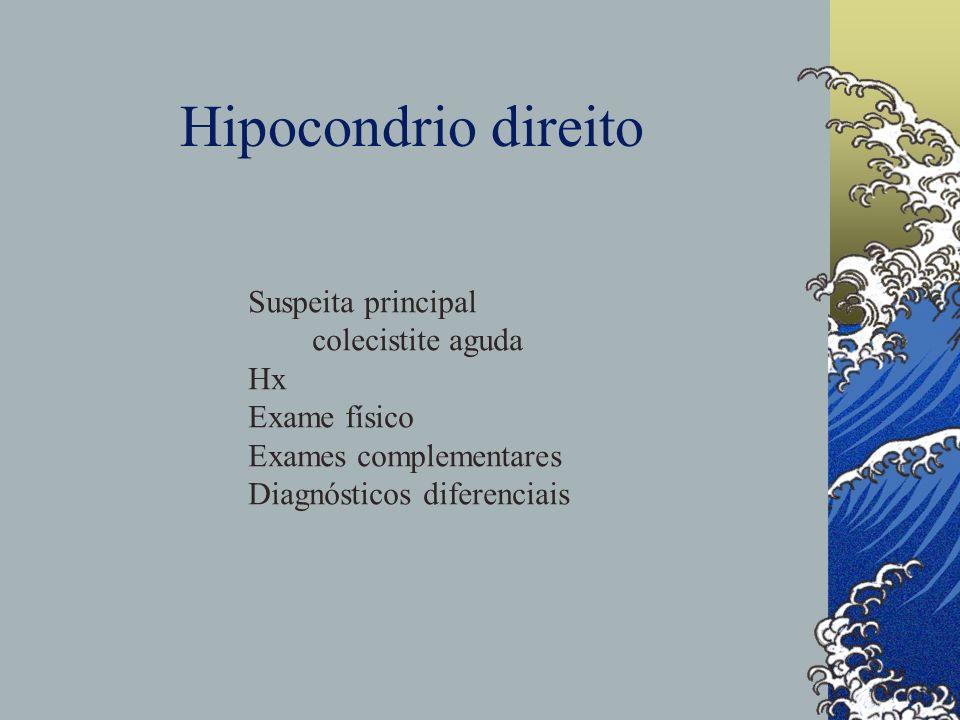 Hipocondrio direito Suspeita principal colecistite aguda Hx Exame físico Exames complementares Diagnósticos diferenciais