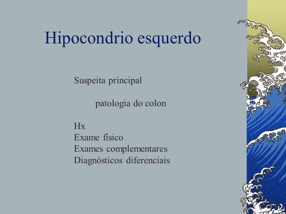 Hipocondrio esquerdo Suspeita principal patologia do colon Hx Exame físico Exames complementares Diagnósticos diferenciais
