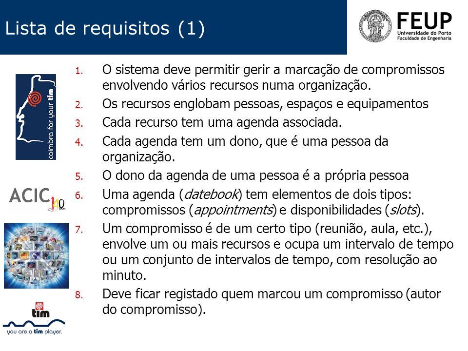 Lista de requisitos (1) 1. O sistema deve permitir gerir a marcação de compromissos envolvendo vários recursos numa organização. 2. Os recursos englob