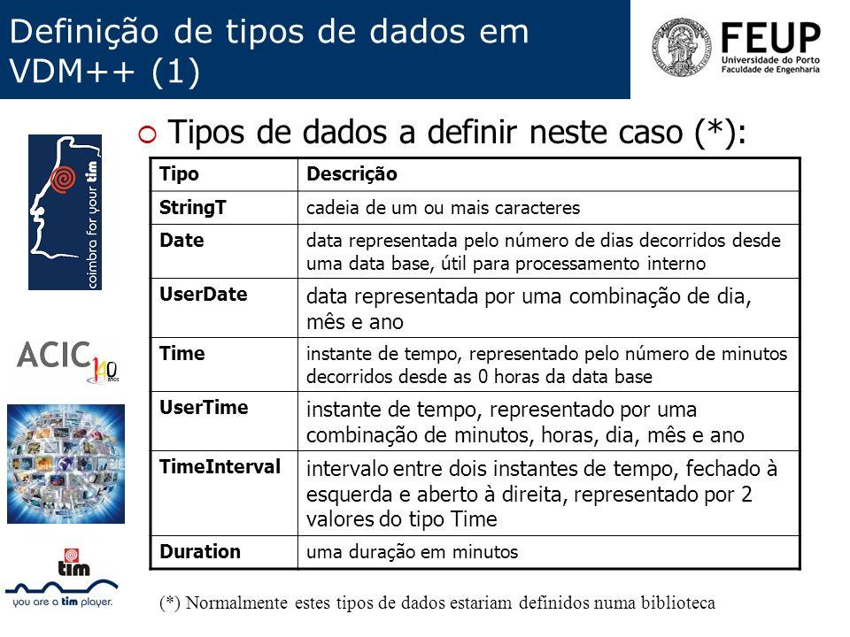 Definição de tipos de dados em VDM++ (1) Tipos de dados a definir neste caso (*): TipoDescrição StringTcadeia de um ou mais caracteres Datedata repres