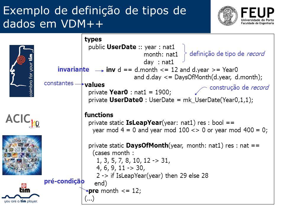 Exemplo de definição de tipos de dados em VDM++ types public UserDate :: year : nat1 month: nat1 day : nat1 inv d == d.month = Year0 and d.day <= Days