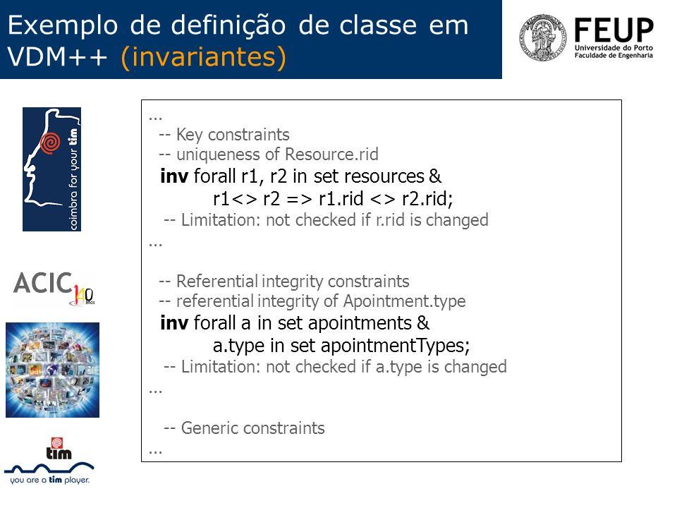 Exemplo de definição de classe em VDM++ (invariantes)... -- Key constraints -- uniqueness of Resource.rid inv forall r1, r2 in set resources & r1<> r2