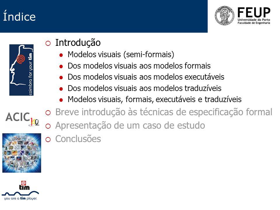 Índice Introdução Modelos visuais (semi-formais) Dos modelos visuais aos modelos formais Dos modelos visuais aos modelos executáveis Dos modelos visua