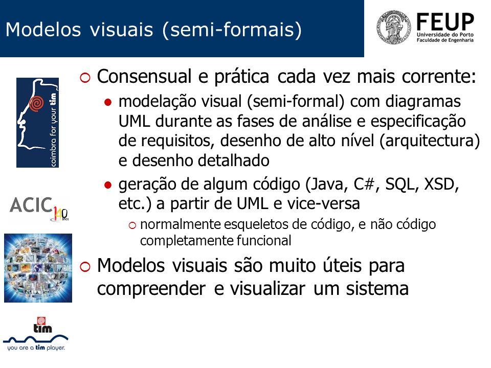 Modelos visuais (semi-formais) Consensual e prática cada vez mais corrente: modelação visual (semi-formal) com diagramas UML durante as fases de análi