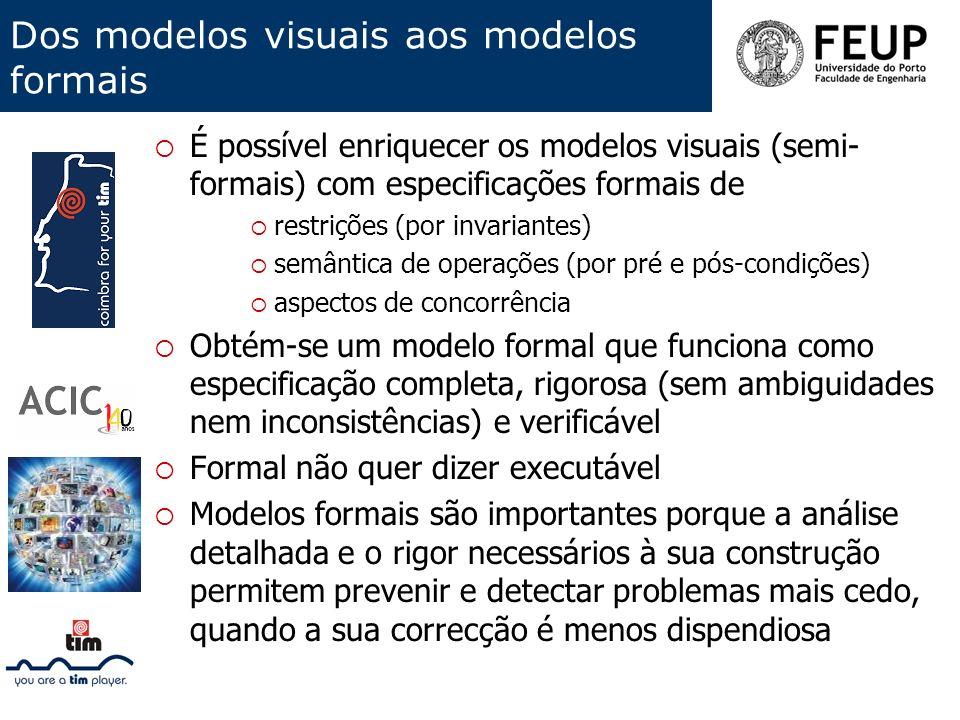 Dos modelos visuais aos modelos formais É possível enriquecer os modelos visuais (semi- formais) com especificações formais de restrições (por invaria