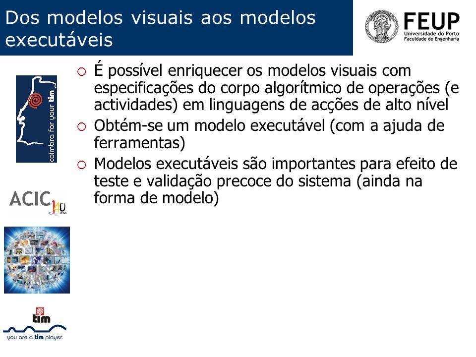 Dos modelos visuais aos modelos executáveis É possível enriquecer os modelos visuais com especificações do corpo algorítmico de operações (e actividad