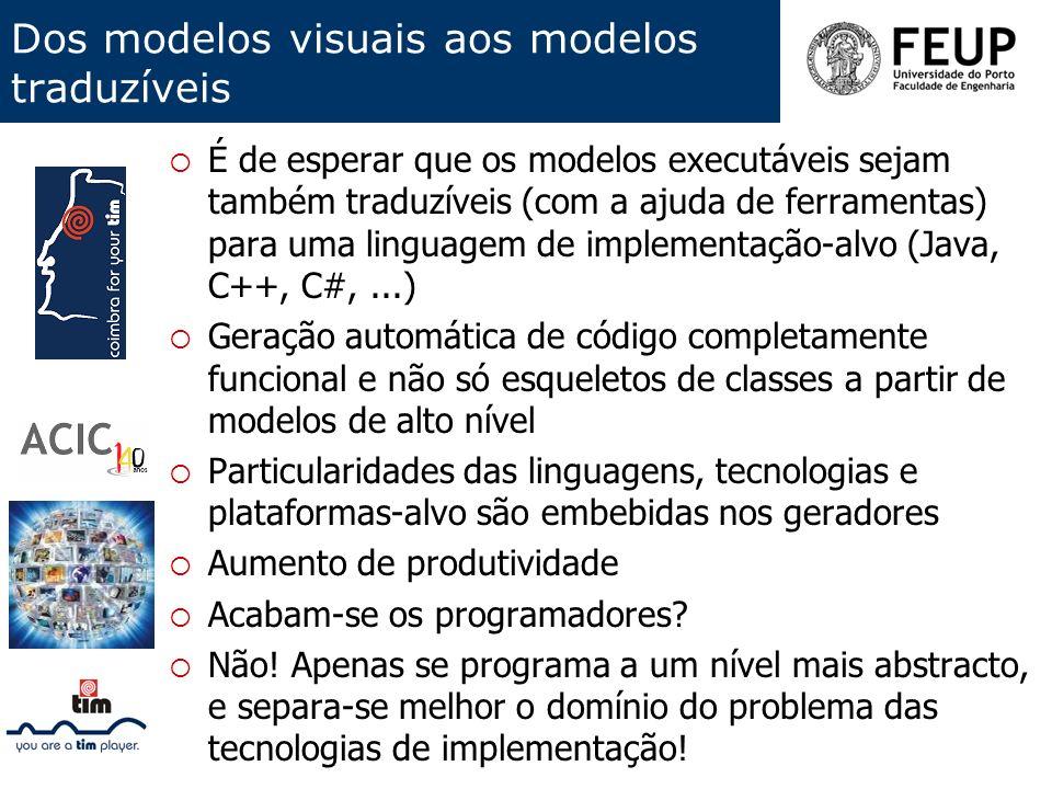Dos modelos visuais aos modelos traduzíveis É de esperar que os modelos executáveis sejam também traduzíveis (com a ajuda de ferramentas) para uma lin