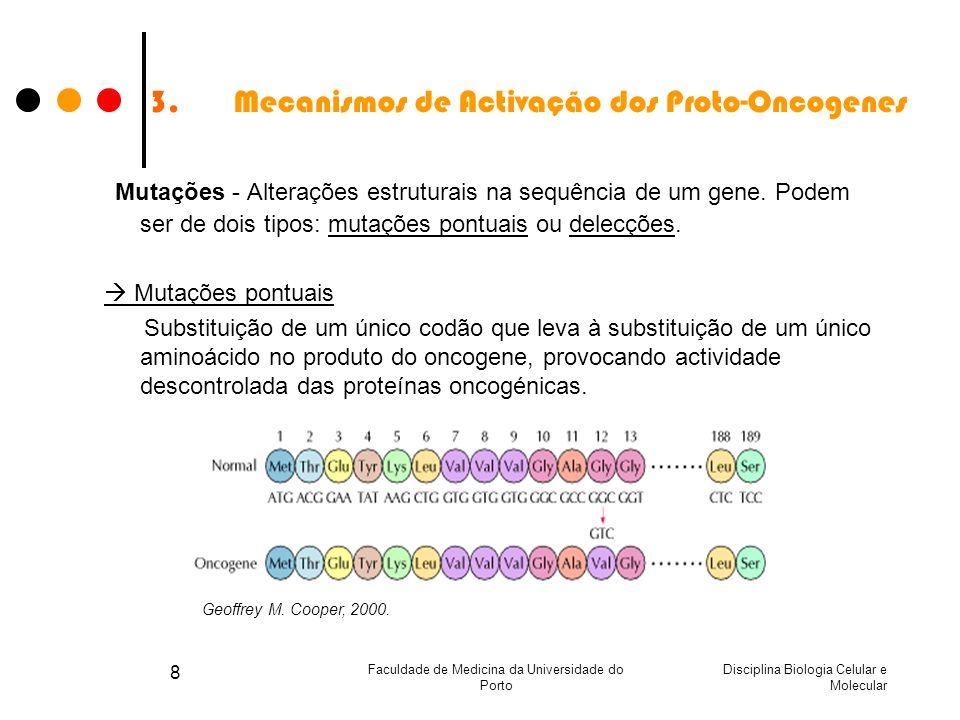 Disciplina Biologia Celular e Molecular Faculdade de Medicina da Universidade do Porto 8 3.Mecanismos de Activação dos Proto-Oncogenes Mutações - Alte
