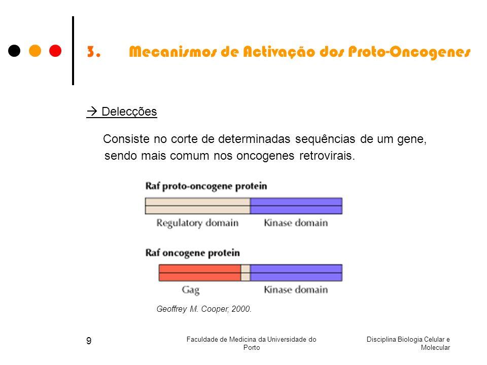 Disciplina Biologia Celular e Molecular Faculdade de Medicina da Universidade do Porto 9 3.Mecanismos de Activação dos Proto-Oncogenes Delecções Consi