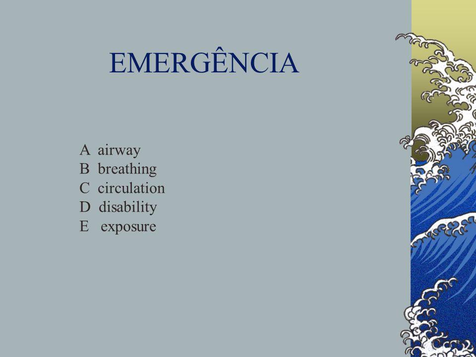 EMERGÊNCIA Obstrução das vias aéreas superiores Choque hipovolémico Hipoxemia Epilepsia Crise asmática Hipertensão intracraneana Insuficiência respiratória