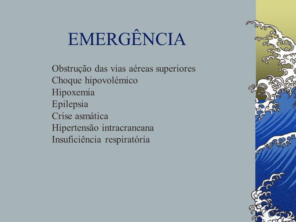 EMERGÊNCIA Obstrução das vias aéreas superiores Choque hipovolémico Hipoxemia Epilepsia Crise asmática Hipertensão intracraneana Insuficiência respira